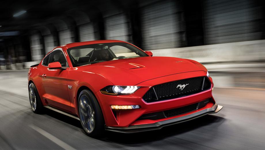 Ford mustang. При создании нового переднего сплиттера, создающего 10 кг дополнительной прижимной силы на скорости 130 км/ч, эталоном послужила спецверсия Mustang Boss 302 Laguna Seca.