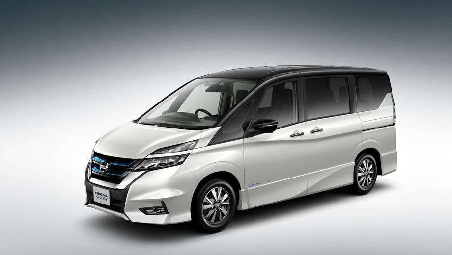 Nissan serena,Nissan serena e-power. В Японии принято обозначать экологичные версии голубыми акцентами, вот и решётка Серены подаёт такой визуальный сигнал. Ещё здесь стоят колёса с низким сопротивлением качению.