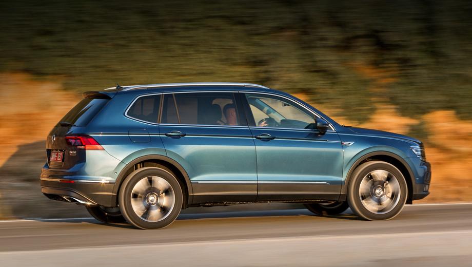 Volkswagen tiguan,Volkswagen tiguan allspace. Для России — только полноприводные версии с коробкой DSG. Allspace 2.0 TDI (150 л.с.) в Германии стоит от 36 875 евро, на 2125 евро дороже короткого Тигуана и на 485 — Кодиака. Allspace 2.0 TSI (180 л.с.) — от 37 500. Поставки в Россию из Мексики начнутся лишь через год.