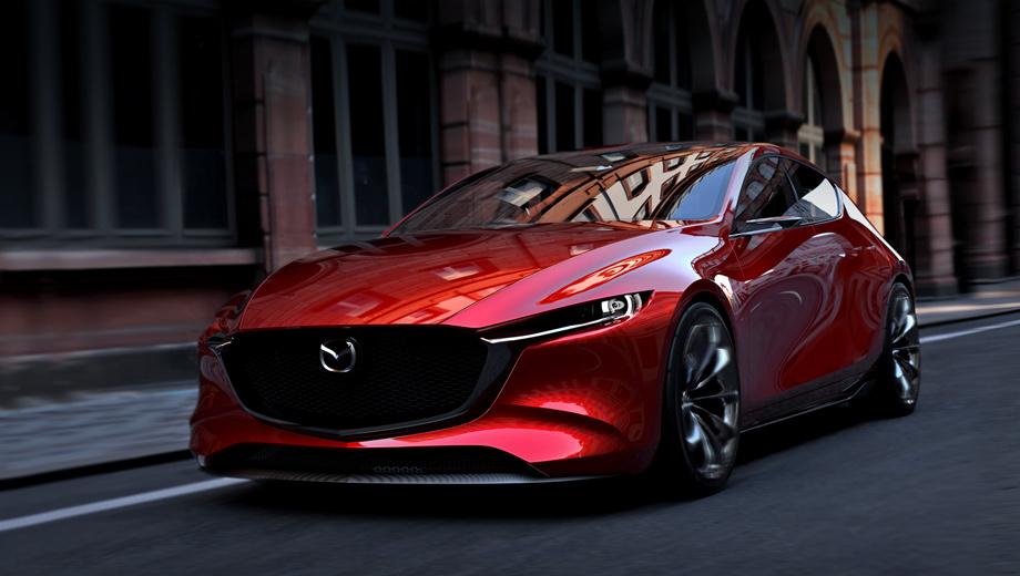 Mazda kai. Дебют концепт-кара Mazda Kai состоялся на Токийском мотор-шоу 2017 года. Длина пятидверки составляет 4420 мм, ширина и высота ― 1855 и 1375 мм соответственно. Колёсная база ― 2750 мм. Mazda 3 третьей генерации длиннее, уже и выше, а расстояние между осями меньше.