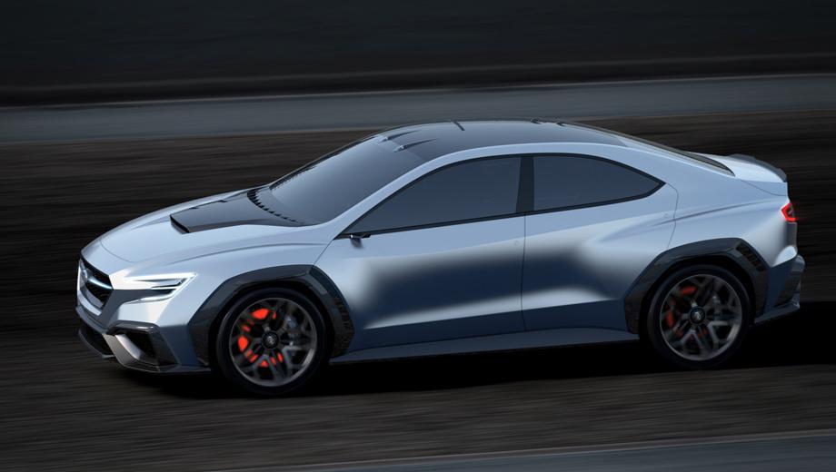 Subaru viziv performance,Subaru concept,Subaru wrx. Любопытно сравнить размеры шоу-кара с текущей четырёхдверкой WRX. Длина — 4630 мм (+35), ширина — 1950 (+155), высота — 1430 (-45), колёсная база — 2730 мм (+80). Размерность шин Bridgestone — 245/40 R20, хотя сейчас у седана максимум 19-дюймовые колёса.