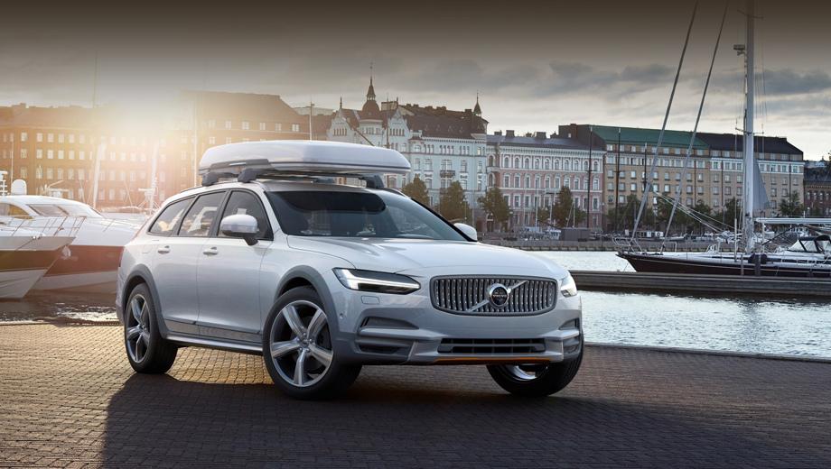 Volvo v90 cc,Volvo v90,Volvo v90 cross country. Специальную серию не назовёшь излишне броской, напротив, всё подобрано очень сдержанно: кузов цвета Crystal White с матово-серыми накладками, капля оранжевых акцентов и особые колёсные диски.