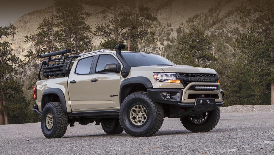 Chevrolet colorado. В «экспедиционном» шоу-каре Colorado ZR2 AEV наиболее интересные изменения не бросаются в глаза.