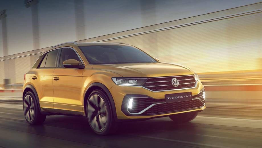 Volkswagen t-roc. По габаритам Volkswagen T-Rocstar полностью копирует европейского донора. То есть длина китайской версии равна 4234 мм, ширина и высота — 1819 и 1573 соответственно. Колёсная база — 2603 мм. Едва ли будет отличаться и объём багажника, который у модели T-Roc составляет 445−1290 л.