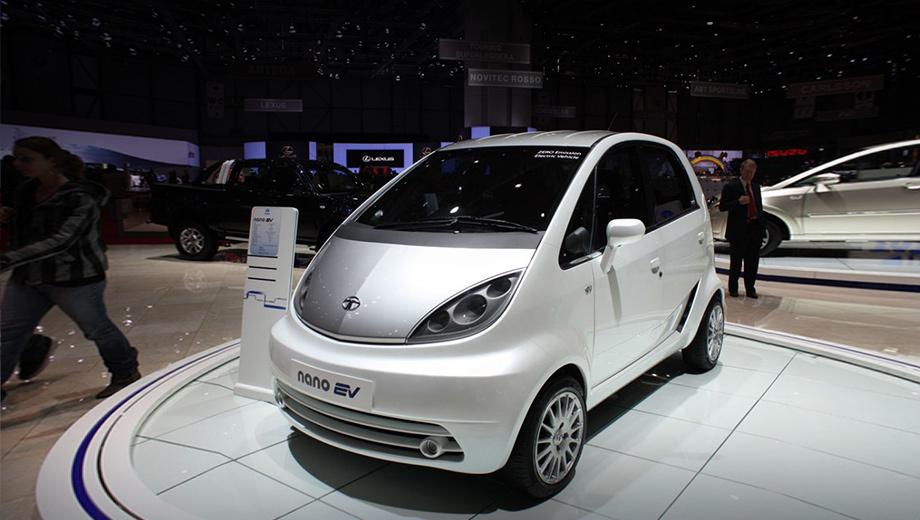 Tata nano. Индийцы пытались спасти машинку за счёт электрической версии, однако концепт Nano EV, показанный на Женевском шоу в 2010 году, так и остался прототипом. Его характеристики: мощность — 40 кВт (54 л.с., 115 Н•м), разгон до 96,5 км/ч за десять секунд, максималка — 110 км/ч, запас хода — 120 км.