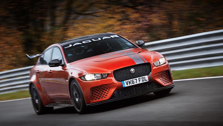 Jaguar xe,Jaguar xe sv,Jaguar xe sv project 8. От стандартного Ягуара XE «проекту» достались только крыша и передние двери. Весь тираж из 300 машин в 2018 году будет собран специалистами подразделения SVO вручную. Потому и стоит суперседан от 149 995 фунтов (11,7 млн рублей).