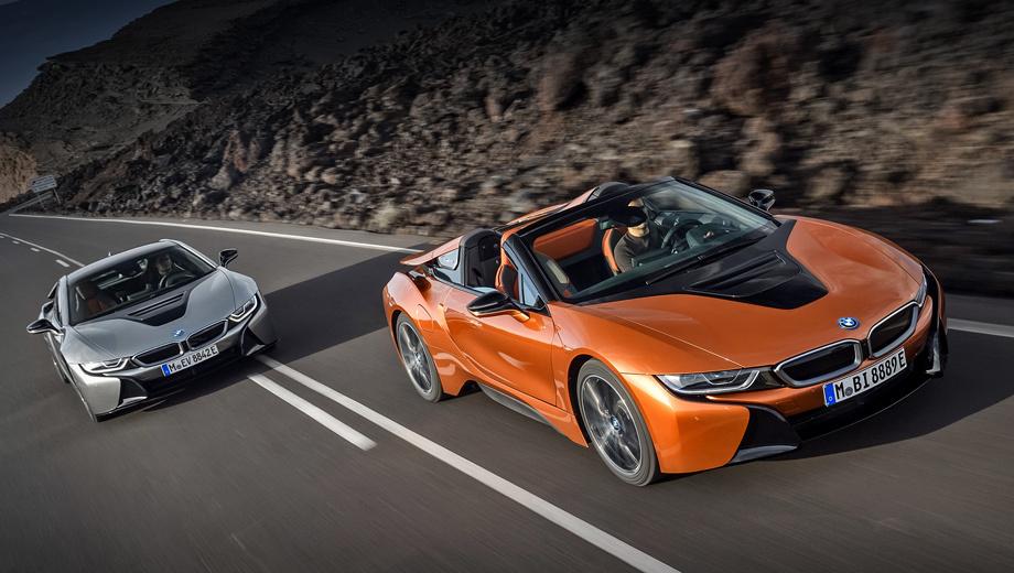 Bmw i8,Bmw i8 roadster. Неудивительно, что обновлённое купе BMW i8 и одноимённый родстер представили в Штатах. Ведь американцы покупают немецкий полноприводный гибрид охотнее, чем в Европе. За 2015-й и 2016 год в США реализовали 3859 машин, а в Старом Свете за тот же период ― 3573.