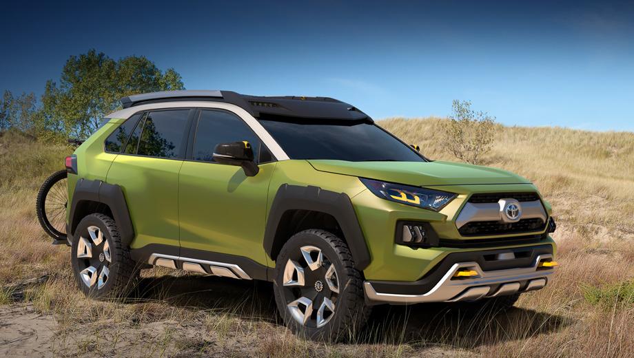 Toyota ft-ac,Toyota concept. Тойоте несвойственно скрывать размеры концептов и их характеристики, но тут именно такой случай. Остаётся сказать, что колёса тут 20-дюймовые, а зелёный цвет кузова Prospect Green перемежается серыми акцентами Fortress Gray и некрашеным пластиком.