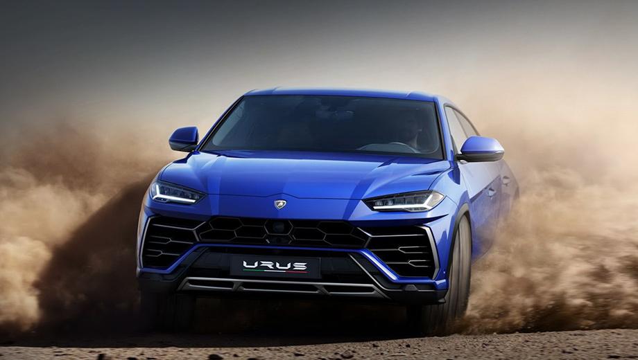 Lamborghini urus. От концепта 2012 года серийной машине достались общие очертания с заниженной крышей, рельеф боковин, узкая оптика. В деталях, вроде бамперов и задней стойки, найдутся и отличия.