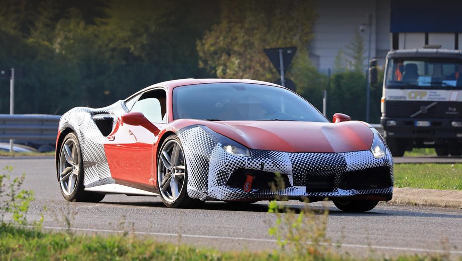 Ferrari 488 gtb,Ferrari 488 gto. За маскировочной плёнкой видны слегка подправленные воздухозаборники и иной, чем у серийной машины, сплиттер.