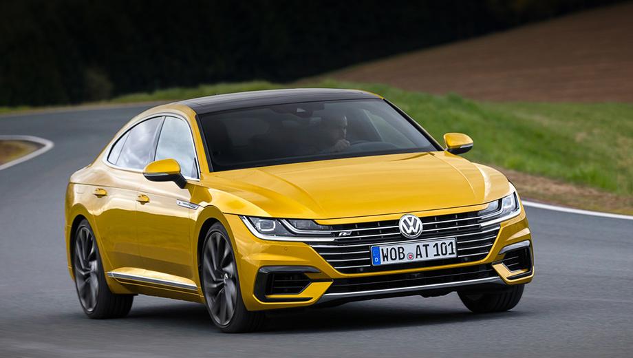 Volkswagen arteon. Наиболее спортивная версия в семействе Volkswagen Arteon ― 280-сильная R-Line. Ускорение до сотни занимает 5,6 с, максимальная скорость ― 250 км/ч. А позже, если верить инсайдерской информации, выйдут полноценная R-версия и универсал в стиле Мерседеса CLS Shooting Brake.