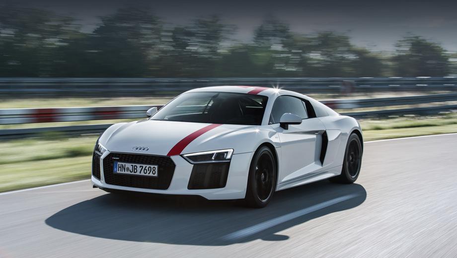 Audi r8. Диковинный для марки Audi заднеприводный суперкар R8 V10 RWS намекнул, что Ингольштадт пробует все способы, чтобы поднять интерес к модели.