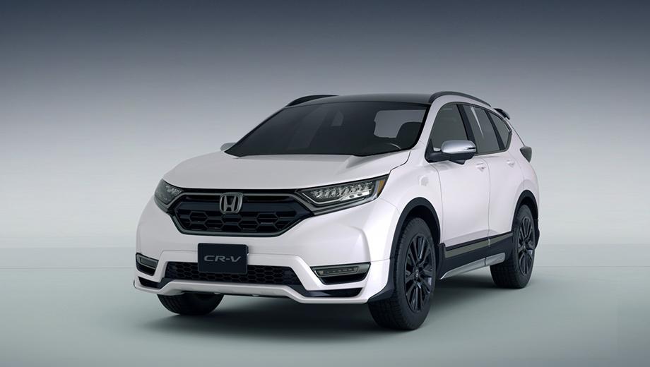 Honda cr-v,Honda jade. Паркетник CR-V в новом исполнении перешёл на тёмную сторону. Хром больше не сверкает. В чернёной решётке другая сотовая структура, изменён передний бампер, затемнены вся оптика и колёсные диски.
