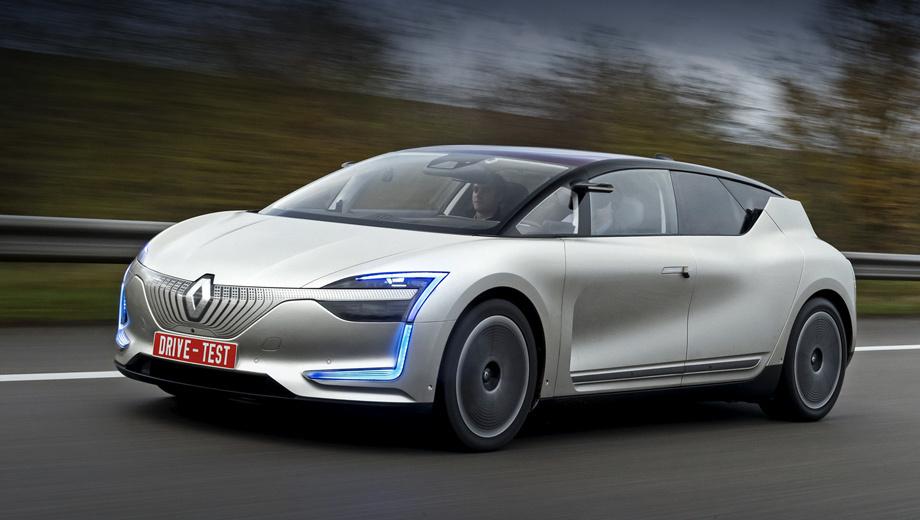 Renault symbioz. Предупреждая окружающих о включении автопилота, Symbioz зажигает голубые ходовые огни. Подобный же способ выбрал Mercedes. В будущем, возможно, эта цветосхема станет стандартом для автономных автомобилей. Свои технологии Renault будет продвигать под брендом Easy Drive.
