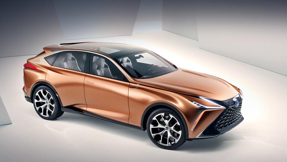Lexus lf-1,Lexus concept. Своим обликом машина обязана калифорнийской студии Calty Design Research, которая уподобляет результат  выкованному японскому мечу катане. Длина кроссовера — 5014 мм, ширина — 1986, высота — 1605, колёсная база — 2974 мм. По габаритам тут близок Lexus RX L.
