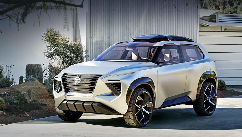 Nissan xmotion,Nissan concept. Среднеразмерный кроссовер по габаритам очень близок, например, к модели Land Rover Discovery Sport. Длина «японца» — 4590 мм, ширина — 1940, высота — 1700, колёсная база — 2785 мм. Возможно, следующий Nissan X-Trail что-то заимствует у данного прототипа.
