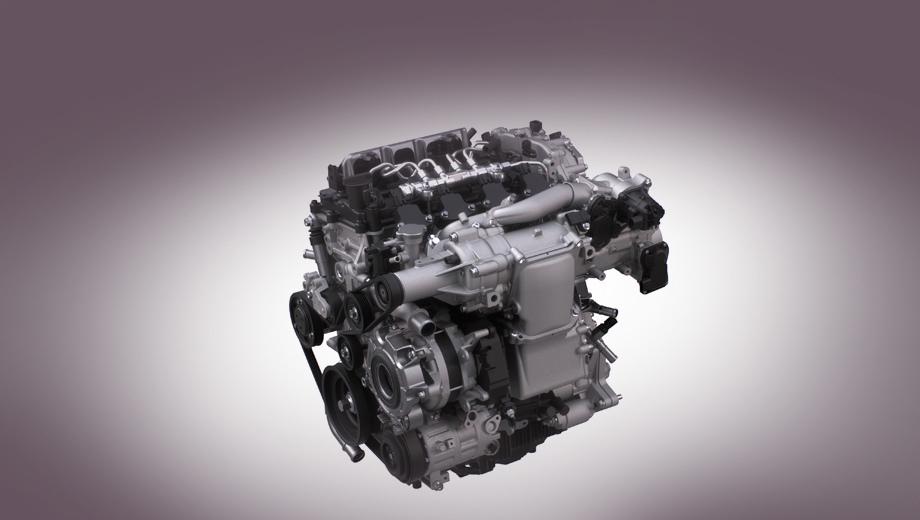 Mazda 3. Мотор Skyactiv-X не только экономичнее, чем нынешние серийные Skyactiv-G, но и может выдать на 10–30% больший крутящий момент. Точные параметры, впрочем, будут оглашены позднее.