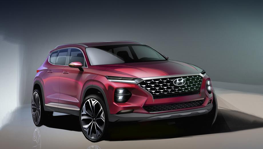 Hyundai santa fe. Узкие ходовые огни на кромке капота напоминают о паркетнике Hyundai Kona. Фирменная каскадная решётка на месте. Боковые зеркала переехали на двери. Площадь остекления увеличилась.