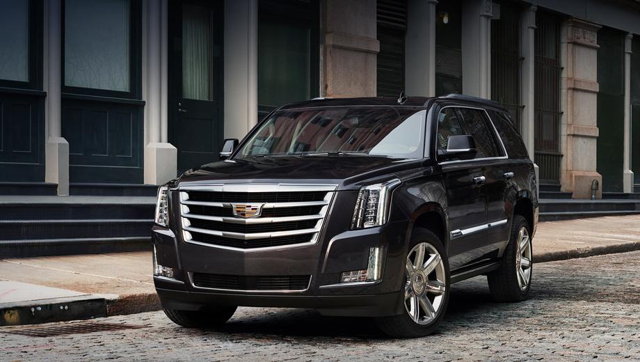 Cadillac escalade. В дизайне экстерьера перемен не случилось. Разве что добавлены три цвета кузова (тёмно-синий, светло-серый и бронзовый «металлики») и новый дизайн 22-дюймовых колёсных дисков.