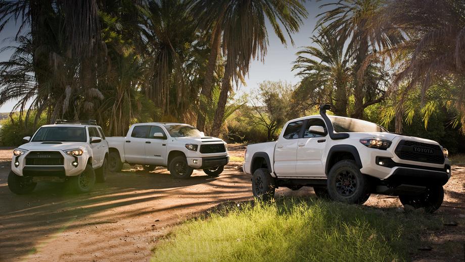 Toyota tacoma,Toyota 4runner,Toyota tundra. Впервые внедорожные модификации TRD Pro появились в 2014 году. Модели Toyota Tacoma, Tundra и 4Runner нынешней серии TRD Pro поступят в продажу осенью 2018-го.