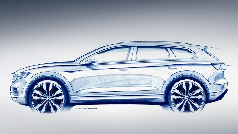 Volkswagen touareg. Все модификации будут оснащаться восьмиступенчатым «автоматом» и полным приводом. Возможно, как и у предшественника, у следующего Туарега будет два типа трансмиссии ― базовая с межосевым дифференциалом Torsen и продвинутая с понижающим рядом и задней межколёсной блокировкой