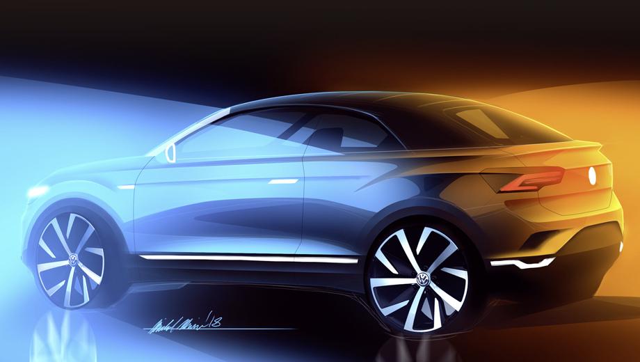 Volkswagen t-roc. В открытом варианте T-Roc лишится пары створок, но приобретёт тканевый верх. Рельеф боковин повторяет линии пятидверной модели-сестры (тут представлен официальный тизер).