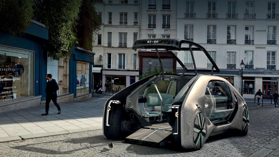 Renault ez-go,Renault concept. Длина — 5200 мм, ширина — 2200, высота — 1600, колёсная база — 3800 мм. Снаряжённая масса — 1700 кг, включая 300 кило батареи. Вход организован через единственную дверь на носу, которая состоит из подъёмной секции и пандуса.