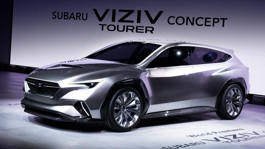 Subaru viziv tourer,Subaru viziv,Subaru concept. Новый прототип похож на прошлогодний концепт Viziv Performance и внешне, и по размерам. Длина — 4775 мм (+145), ширина — 1930 (+20), высота — 1435 (+5), колёсная база — 2730 мм (паритет). Даже размерность шин одинаковая — 245/40 R20.