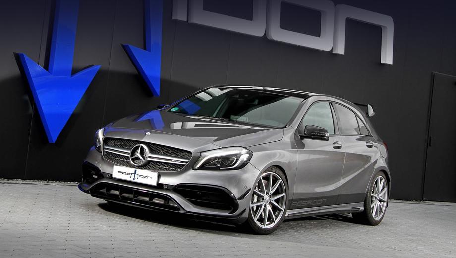 Mercedes a amg,Mercedes a. Если бы не надпись в нижней части дверей, особого внимания никто бы на этот хэтч не обратил: А 45 и в заводском исполнении выглядит интересно. Но уж слишком привычно.