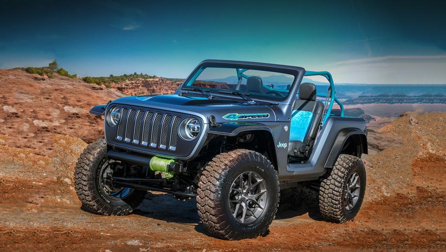 Jeep wagoneer roadtrip,Jeep 4speed,Jeep sandstorm,Jeep b-ute,Jeep nacho,Jeep jeepster,Jeep j-wagon,Jeep concept. Прототип Jeep 4Speed — это максимально облегчённый Wrangler. Длина вездехода укорочена на 559 мм, высота увеличена на 51 мм. Почти весь кузов выполнен из углеродного волокна и алюминия. Под капотом — новая «турбочетвёрка» 2.0. Обут 4Speed в 35-дюймовые шины BFGoodrich Mud-Terrain.
