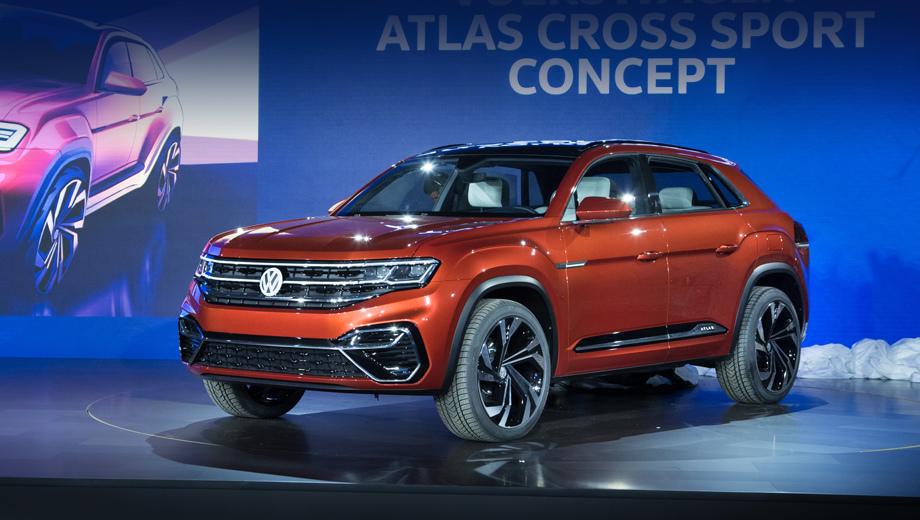 Volkswagen atlas,Volkswagen teramont,Volkswagen concept,Volkswagen atlas cross sport. Длина кроссовера равна 4846 мм (он на 191 мм короче базового Атласа), ширина — 2029 (+50 к Атласу), высота — 1735 (–33 мм). Колёсная база (2979 мм) сохранена от исходника.