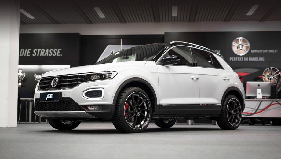 Volkswagen t-roc,Volkswagen abt  t-roc. Спереди «подогретую» версию и не отличишь от заводской. Да и сзади практически тоже. А вот на ходу разница должна ощущаться.