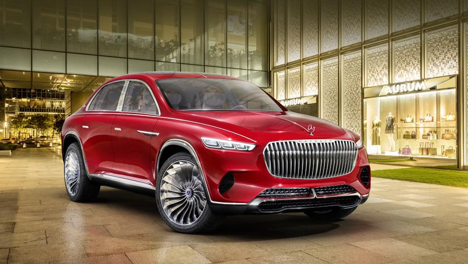 Mercedes gls,Mercedes concept. Новый концепт развивает стилистику, продемонстрированную в шоу-каре Vision Mercedes-Maybach 6 (особенно во фронтальной части). Кажется, даже оттенок красного — тот же самый.