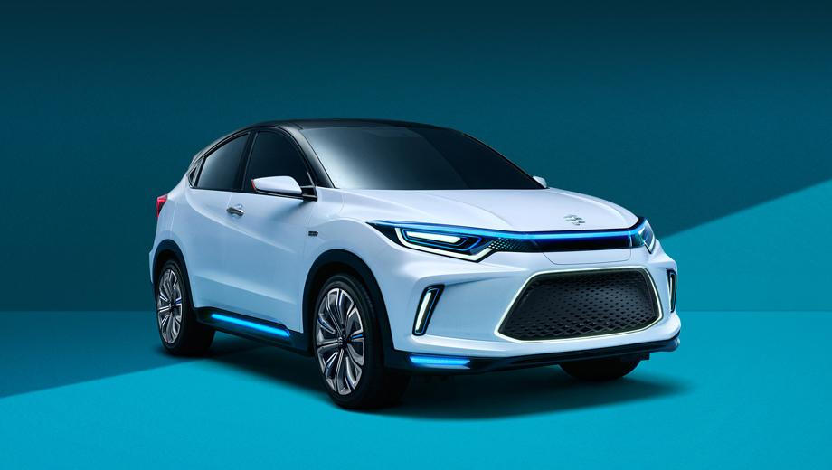 Honda everus ev,Honda concept. Нетрудно заметить, что батарейный шоу-кар построен на базе субкомпактного паркетника Honda HR-V/Vezel, только тут изменены бамперы, оптика (с трёхмерным эффектом) и ряд декоративных деталей.