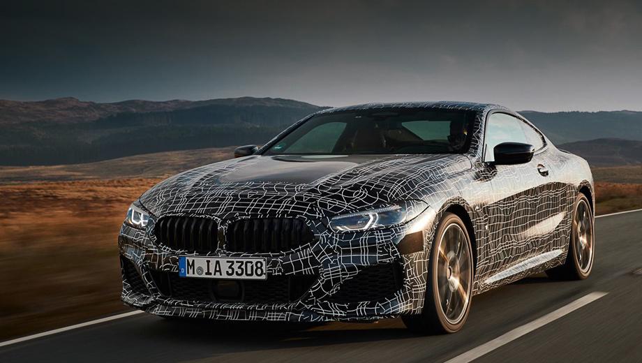 Bmw 8. По информации из британской прессы, снаряжённая масса BMW M850i xDrive составит около 1900 кг, а ускорение до сотни у 530-сильной машины будет занимать 3,7 с. Максимальная скорость ограничена электроникой на 250 км/ч.