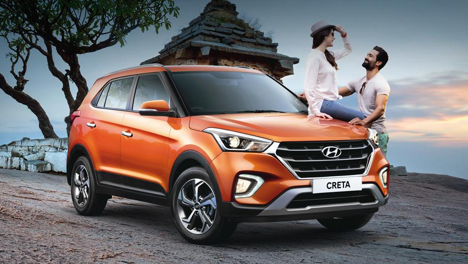 Hyundai creta. Обладатель премии «Индийский автомобиль 2016 года» (ICOTY) теперь предлагается с двухцветной окраской кузова. Палитра цветов расширена. Необычная новация — С-образные светодиодные огни вокруг противотуманок. Такие есть только в Индии.
