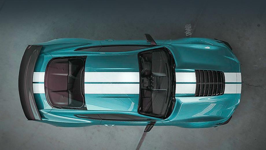 Ford mustang,Ford mustang shelby gt500. Внушительный двойной ряд вентиляционных «жабр» по центру капота — одна из ярких черт новой модели.