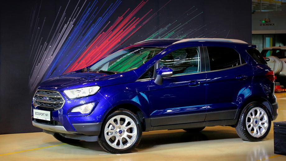 Ford ecosport. Первой с конвейера сошла эта синяя машинка с полным приводом, «атмосферником» 2.0 (148 л.с.), шестидиапазонным «автоматом» и в максимальной комплектации Titanium Plus. За такой вариант дилеры просят 1 259 000–1 399 000 рублей. Начальная цена Экоспорта — 959 000.