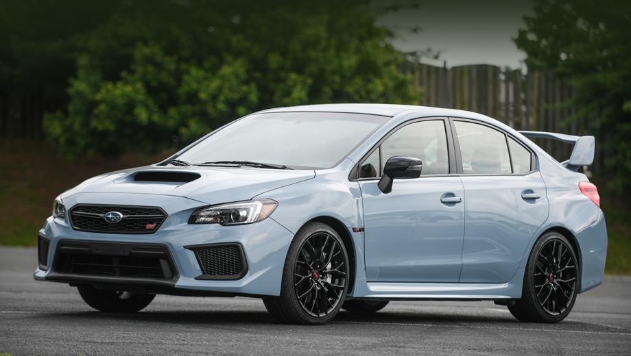 Subaru wrx sti,Subaru wrx. Ограниченная серия WRX STi окрашена в цвет Cool Gray Khaki, а беджики — в Crystal Black Silica, которым вторят чёрные колёсные диски. Такое же «серое» исполнение у седана WRX оформлено идентично, только колёса меньше (18 дюймов против 19).