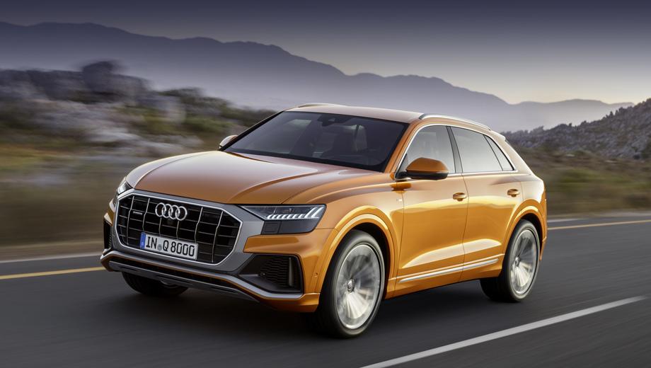 Audi q8. Длина, ширина и высота «восьмёрки» равны 4986 (–66, по сравнению с Q7), 1995 (+27) и 1705 (–36) мм. Колёсная база — 2987 мм (–7). Колёсные диски — до 22 дюймов. Клиренс — 254 мм. Багажник со сложенным вторым рядом — 1755 л.