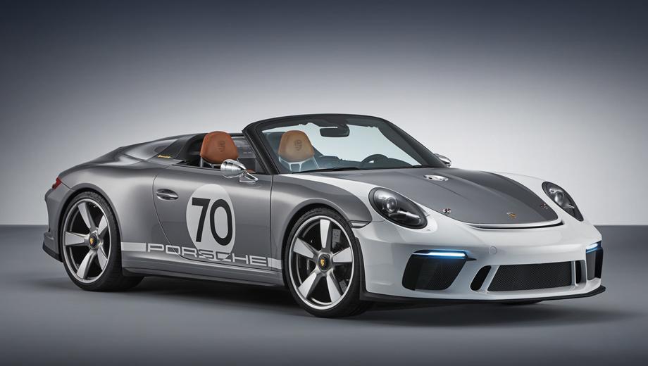 Porsche 911,Porsche 911 speedster. Кузов частично заимствован у кабриолета 911 Carrera 4. Крылья, капот и крышка моторного отсека выполнены из углеволокна. Есть уникальные детали в стиле 1950-х: наружные зеркала, пробка топливного бака на носу и будто бы заклеенные крест-накрест фары.