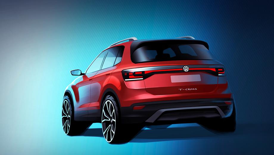 Volkswagen t-cross. Объявлена длина машинки — 4107 мм. Это больше, чем у хэтча Polo (4053), но меньше, чем у собрата Seat Arona (4138). Колёсная база «ти-кросса» не названа, но, судя по родне, тут 2564–2566 мм. Эскиз сопровождён видео: о компакте говорят шеф-дизайнер Клаус Бишофф и функционер Юрген Стакманн.