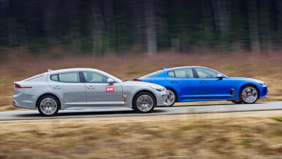 Kia stinger. Синий Stinger GT дороже редакционного автомобиля на 800 тысяч. И за 3 229 900 рублей «корейцу» не стоит рассчитывать на снисхождение публики — спрашивать будут как с «немцев». Он хоть и истинный driver's car, но кичеват, беззубо звучит и не кажется живучим.