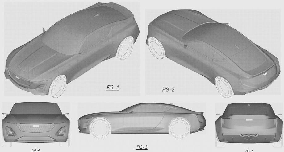 Всеть попали патентные изображения нового купе кадилак