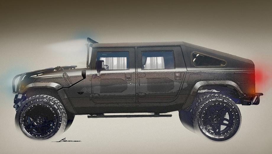 Hummer h1. Ателье Mil-Spec Automotive планирует делать рестомоды Hummer H1 с пятью вариантами кузова на выбор. Среди них будут версии со стальными и стеклопластиковыми крышами (откидной задний борт или полноценная пятая дверь) и двухдверный пикап с удлинённым грузовым отсеком.