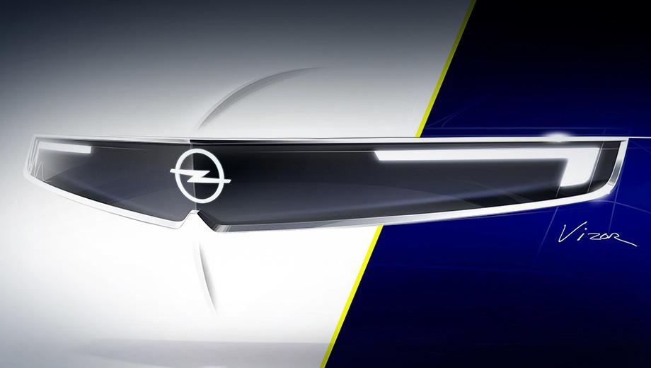 Opel concept,Opel gtx. Новое оформление передка называется Vizor из-за сходства с визором, щитком мотоциклетного шлема. Светодиодные фары и ходовые огни, камеры, датчики и значок Опеля накрыты прозрачными панелями, а решётки радиатора тут просто нет, ведь это электрокар.