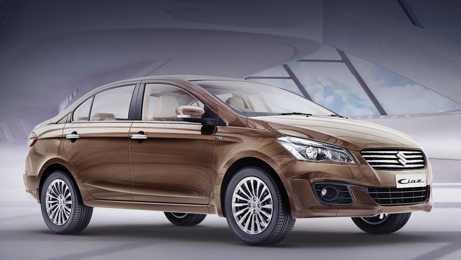 Suzuki ciaz. Модель вышла на индийский рынок в 2014 году и считается преемницей неудачливого седана Kizashi. Длина, ширина, высота — 4490×1730×1485 мм, колёсная база — 2650. Цена базовой комплектации Sigma — 783 383 рупии (724 тысячи рублей).