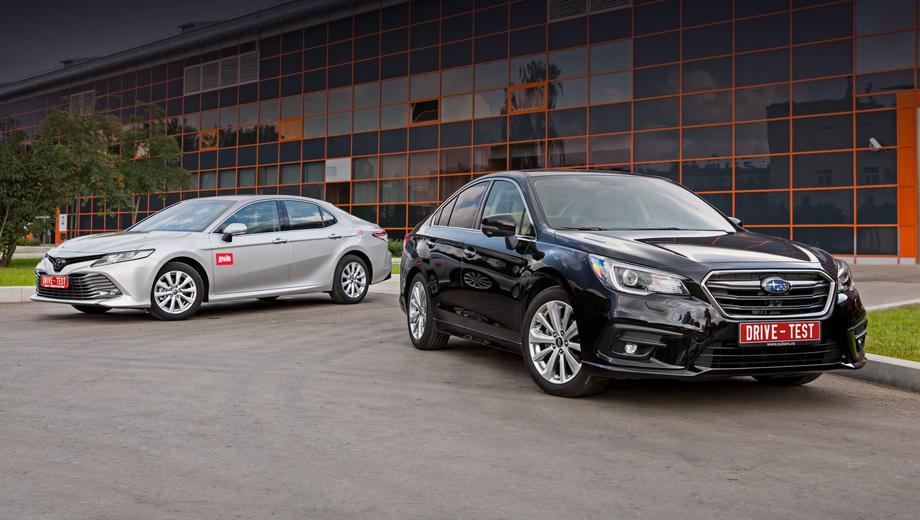 Subaru legacy,Toyota camry. У Legacy две комплектации: за 2 089 000 рублей или 2 239 900. Обе с мотором 2.5, вариатором и полным приводом. Camry 2.5 с «автоматом» стоит от 1 678 000 до 2 117 000. За 2 232 000 можно уже купить 250-сильную модификацию с двигателем V6 3.5.