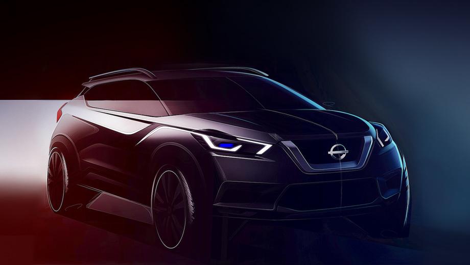 Nissan kicks. Слабая детализация не даёт провести сравнительный анализ. Решётка V-motion, фары, линия остекления, выштамповки — как у глобального Кикса. Явным отличием «нашего» пока можно назвать только бамперы и зауженные фонари.
