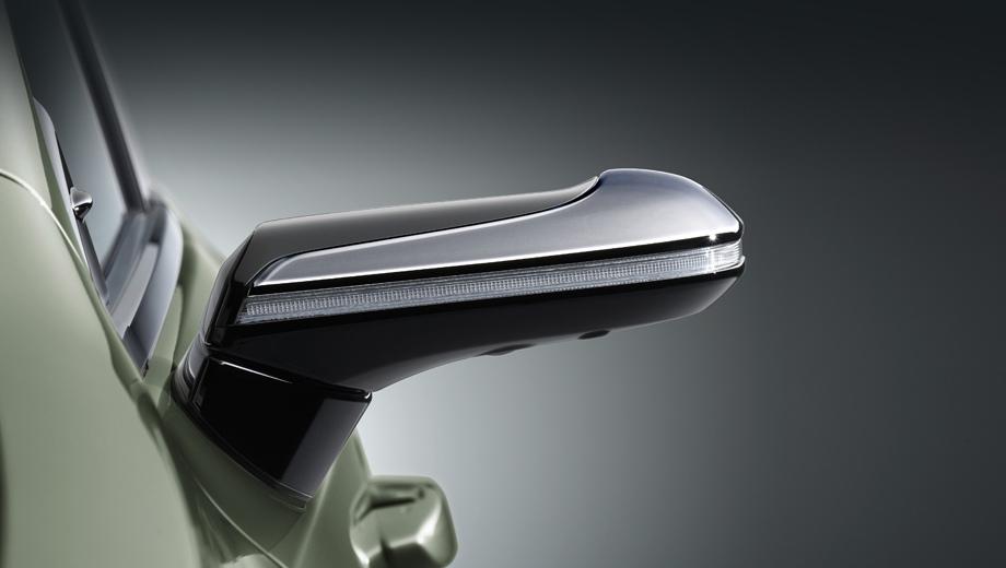 Lexus es. Опция названа по-простому Digital Outer Mirrors. Тонкие корпуса камер вместо обычных «лопухов» улучшают обзор вперёд, снижают аэродинамические шумы и сопротивление воздуху.
